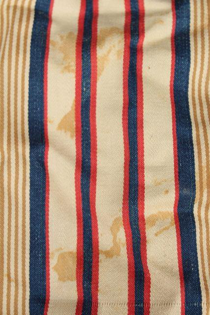 primitive old feather tick bed mattress, vintage blue red wide striped cotton ticking