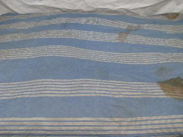 primitive old feather tick bed mattress, vintage blue striped cotton chambray