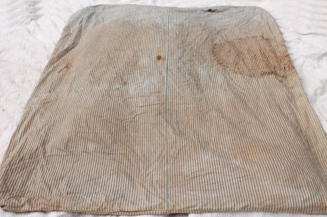 Primitive Old Feather Tick Bed Mattress Vintage Indigo