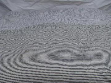 primitive old feather tick bed mattress, vintage indigo blue striped cotton ticking