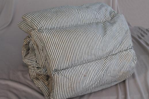 primitive old feather tick bed mattress w/ vintage indigo ...