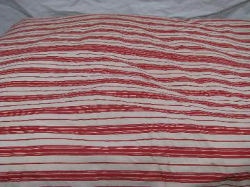 primitive old feather tick bed mattress, vintage wide red striped cotton ticking