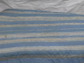 primitive old feather tick bed or duvet, vintage blue & white stripe cotton chambray