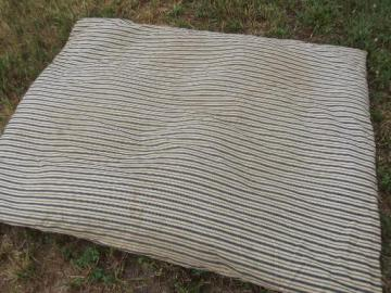 primitive old feather tick bed, vintage blue & white stripe cotton ticking