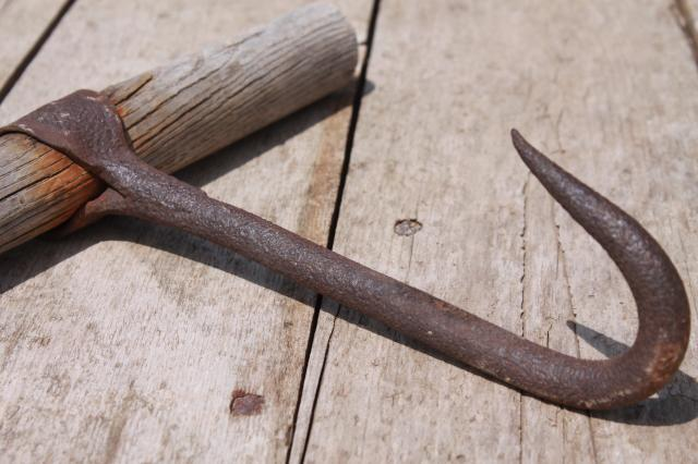 primitive old hand forged iron hook, bale hook or butcher's meat hook, early 1900s antique