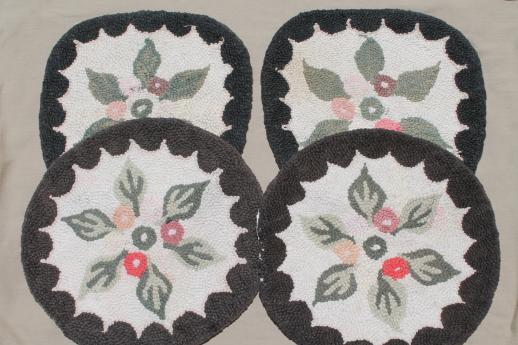 primitive old handmade hooked wool chair mats, flowered rug seats for kitchen chairs