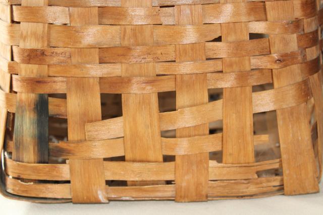Primitive Old Handmade Wood Split Splint Woven Basket