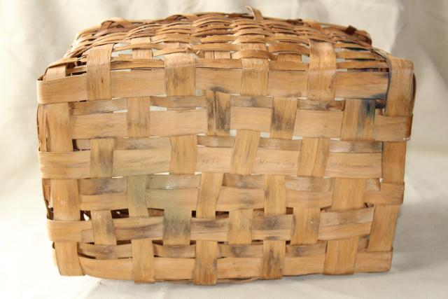Primitive Old Handmade Wood Split Splint Woven Basket