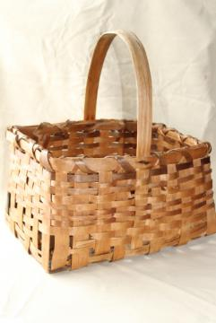 primitive old handmade wood split splint woven basket, farm country basket vintage 1936