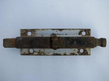 primitive old iron architectural salvage deadbolt latch, barn doors or garden gate