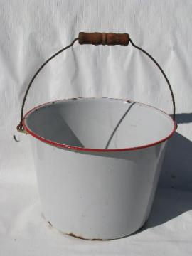 primitive old leaky farm kitchen pail, graniteware enamel bucket