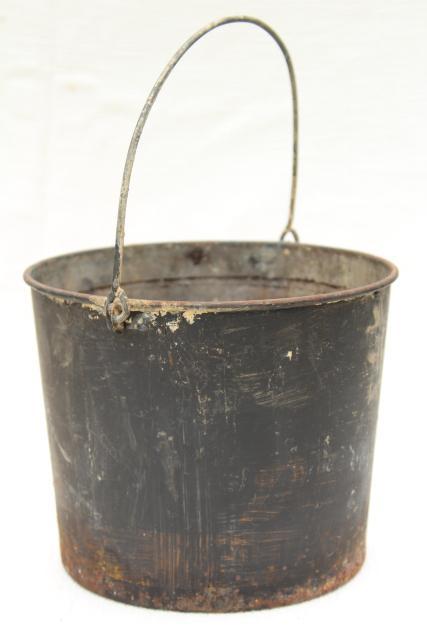 Primitive old metal pail antique vintage paint bucket for Old metal buckets