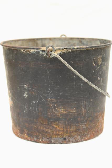 Primitive Old Metal Pail Antique Vintage Paint Bucket Rustic Rusty Patina