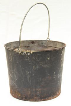primitive old metal pail, antique vintage paint bucket, rustic rusty patina