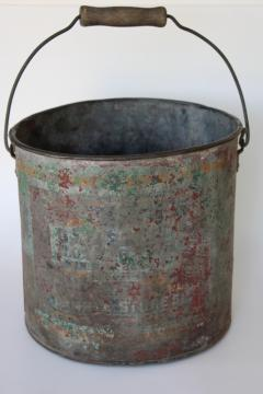 primitive old painted metal bucket, wood handle pail w/ worn vintage advertising