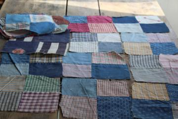 primitive old patchwork quilt blocks, antique print calico & shirting fabric