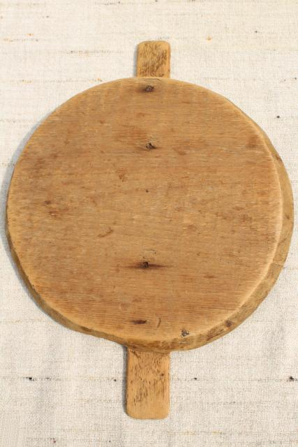 primitive old pine board wood lid, cover for antique vintage stoneware crock or churn