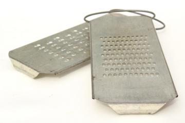 primitive old punched tin slaw boards vegetable graters or cheese shredders, vintage kitchen tools