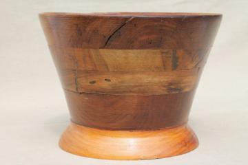primitive old rough wood mortar basin, rustic hand turned wooden bowl