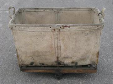 primitive old shop or factory cart w/ canvas sides, vintage mail or laundry bin