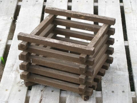 Primitive Old Slatted Wood Crate Garden Or Hanging Planter Box