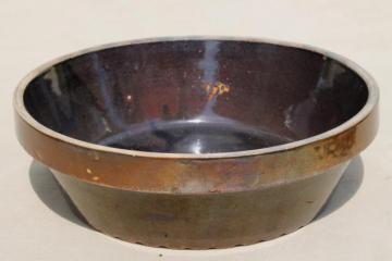 primitive old stoneware crock bowl - meat pie dish, baked beans baker, or milk pan