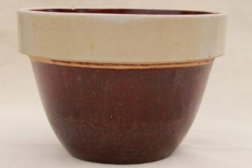 primitive old stoneware crock bowl, vintage USA pottery, antique crockery