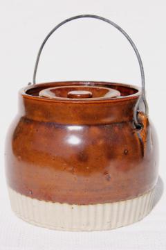 primitive old stoneware jar w/ lid & wire bail handle, vintage preserves crock