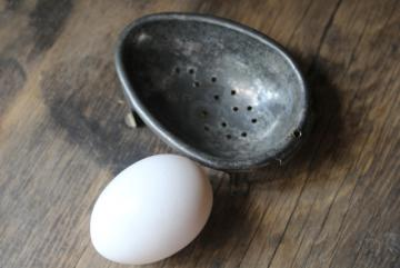 primitive old tin egg poacher, antique vintage kitchen gadget or soap dish
