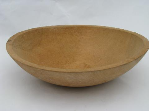 primitive old turned wood bowl, vintage woodenware salad or fruit bowl