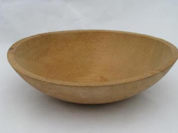primitive old turned wood bowl, vintage woodenware salad or fruit bowl