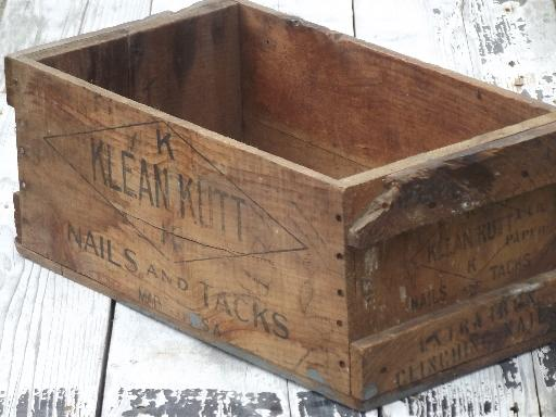 primitive old wood box wooden packing crate store display