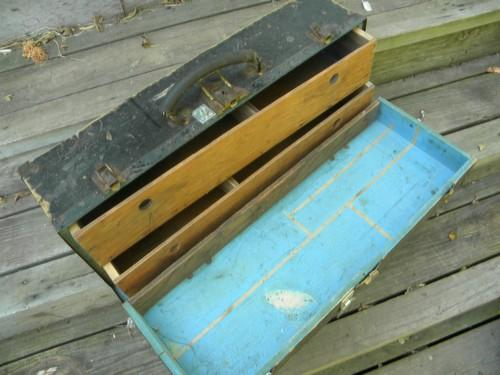 primitive old wood carpenter's tool box w/iron hardware & worn paint