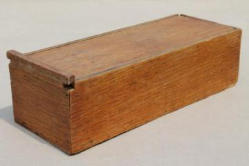 primitive old wood carpenter's tool box, vintage file box w/ sliding cover
