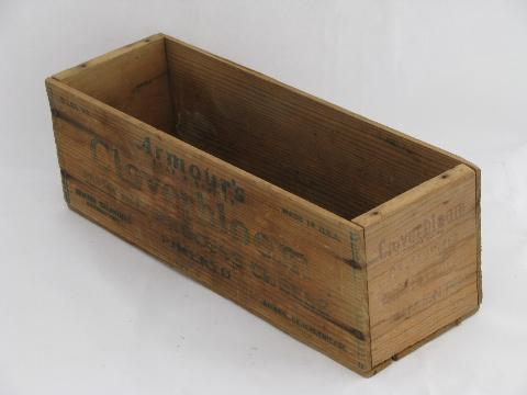 Primitive Old Wood Cheese Box Vintage Cloverbloom Wooden Crate