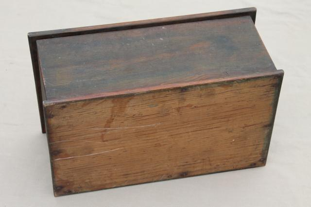 Primitive Old Wood Chest Vintage Candle Box Or Small Trunk W Flat