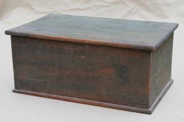 primitive old wood chest, vintage candle box or small trunk w/ flat top lid