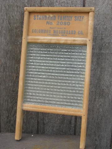 Primitive Old Wood Ribbed Glass Laundry Washboard