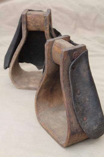 Primitive Old Wood Stirrups For Cow Pony Saddle Vintage