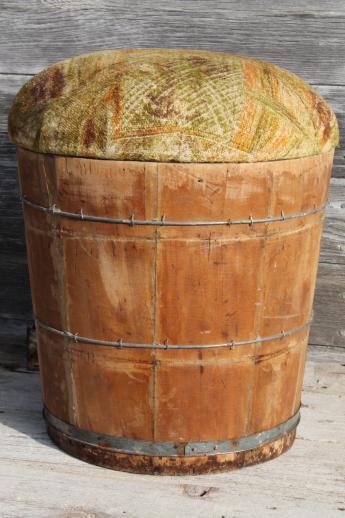 Primitive Old Wooden Barrel Storage Seat Vintage Wood