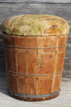 primitive old wooden barrel storage seat, vintage wood bucket sewing box?