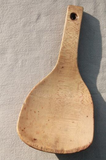 primitive old wooden scoop spoon, vintage butter paddle from farmhouse kitchen