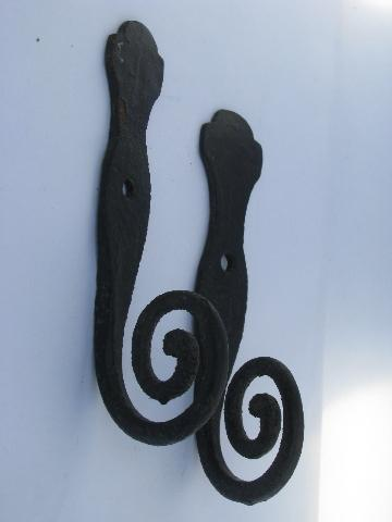 primitive old wrought iron coat hooks w/ big round spirals, vintage country