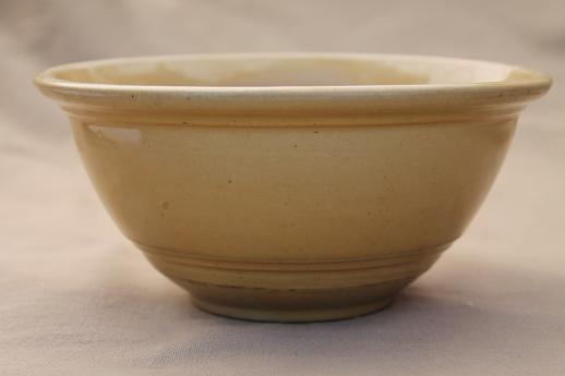 primitive old yellow ware pottery bowl, antique vintage yellow mixing bowl