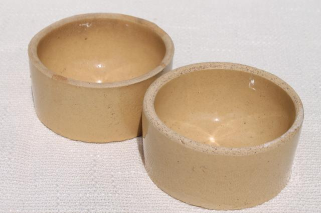 primitive old yellow ware stoneware pottery, antique vintage crock bowls / pet dishes