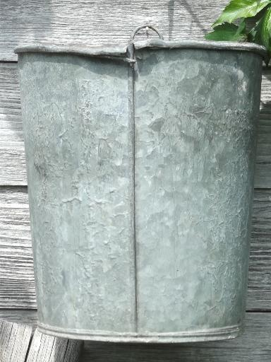 primitive old zinc galvanized metal pail, vintage farm garden flower bucket