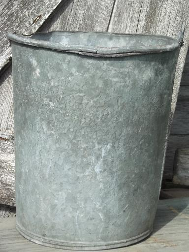Primitive Old Zinc Galvanized Metal Pail Vintage Farm
