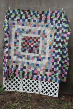 primitive patchwork quilt top 20s 30s 40s 50s vintage cotton fabric for upcycle project
