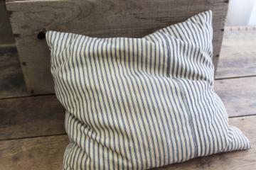 primitive pillow w/ indigo blue striped ticking, antique vintage feather pillow