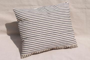 primitive pillow w/ indigo blue striped ticking, antique vintage feather pillow